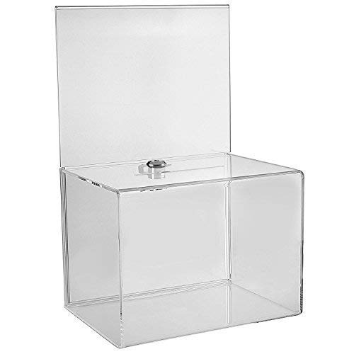 Wide Donation Box - Ballot Box - Suggestion Box - Acrylic Box - Tip Box- with Large Display Area (1 Pack)