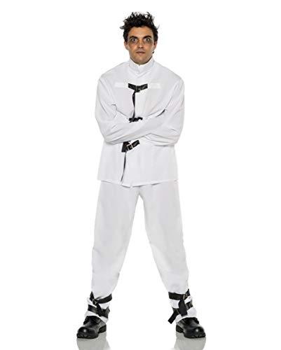 Weiß-schwarzes Zwangsjacken Herrenkostüm für Halloween & Fasching XL