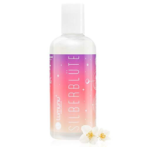Deluxe Körperöl Silberblüte(250ml), belebendes Massageöl mit verführerischem Jasminduft und silbernem Schimmer, für erotische Massagen, von Venize