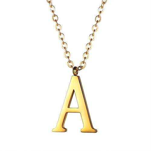 PROSTEEL Halskette Edelstahl Buchstabe A Alphabet Charme Anhänger Halskette Fashion Anfangsbuchstabe Modeschmuck mit 55cm Rolokette Gold