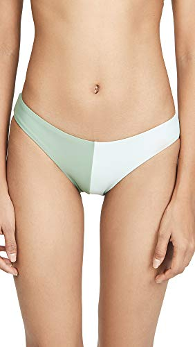 PilyQ Women's Two Tone Bikini Bottoms, Azura, Green, Large