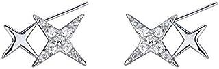 Girl Sterling Silver Star Stud Earrings Cute Creative Elegant Earrings Lady Fashion Super Shiny Earrings Jinlyp (Size : 925 Silver)