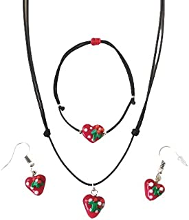 Jewelry Set From Glass Art by Handmade of Turkish Artisan with Heart Theme, Includes Necklace,Bracelet and Earrings