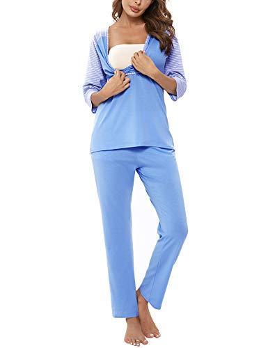 Doaraha Pijamas de Lactancia Mujer Invierno Conjunto Ropa Maternidad Rayas Manga Media Pijama Premamá Camiseta y Pantalones Algodón Embarazo Ropa de Dormir (Azul, 2XL)