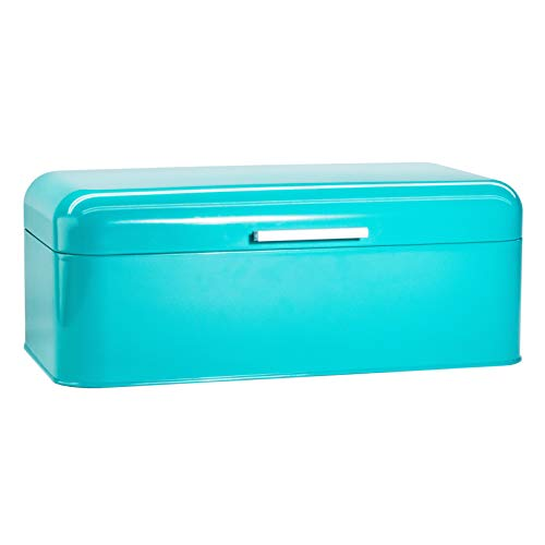 """Large Turquoise Bread Box – Extra Large Storage Container for Loaves, Bagels, Chips & More: 16.5"""" x 8.9″ x 6.5″   Bonus Recipe EBook"""