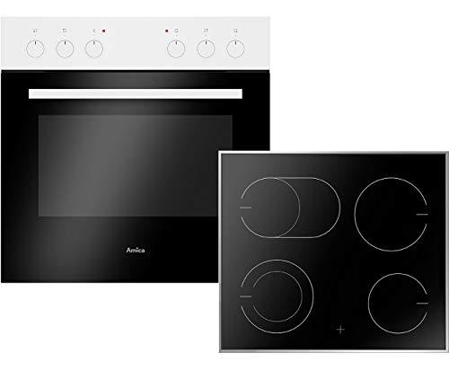 Amica EHC 933 011 W Einbauherd-Set mit Glaskeramik-Kochfeld, SCHOTT CERAN® - Weiß