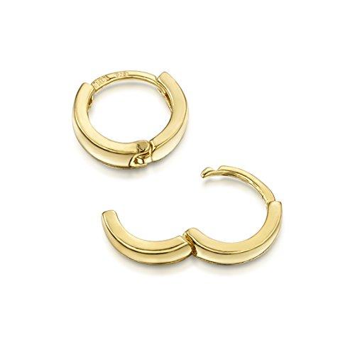 Amberta® 925 Sterling Silber Vergoldet 18K Edle Ringe mit Scharnierbügel – Kleine Runde Klapp-Creolen Ohrringe - Durchmesse 10 mm