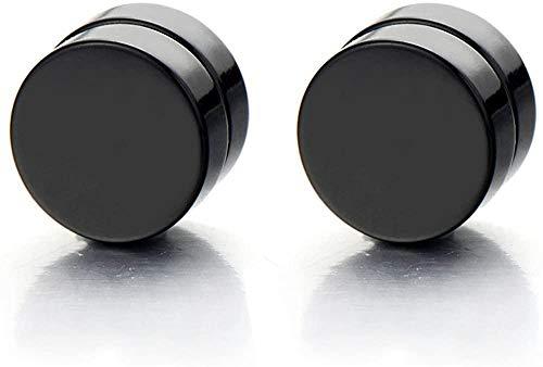 NC188 2pcs 6MM Pendientes de botón de círculo Negro magnético para Hombres Mujeres Clip sin Perforaciones en medidores de Oreja Falsos tramposos