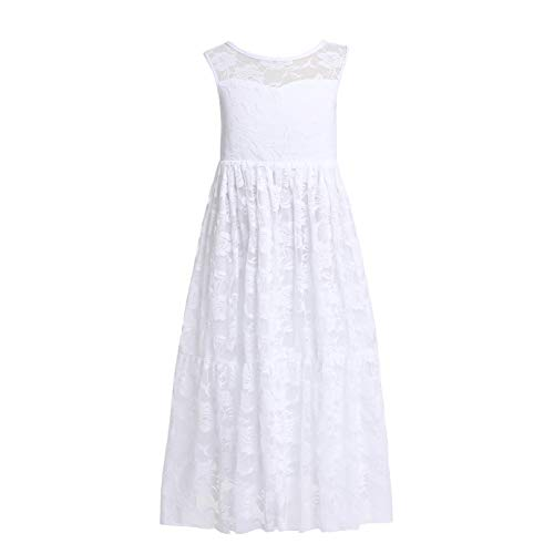 Welieenice Lace Girls First Communion Dress Boho Teens Wedding Party Birthday Princess Church Junior Special Occasion Gown Semi Formal Beach Maxi Ballgown (14-15 Years, Pure White Sleeveless)
