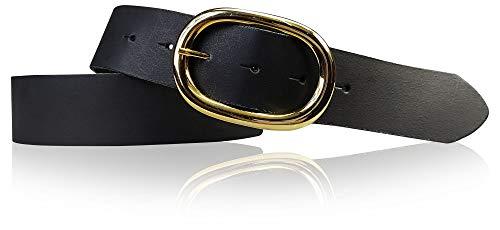 FRONHOFER Damengürtel goldene Schnalle oval, 4 cm breiter Ledergürtel, 17613, Größe:Körperumfang 85 cm / Gesamtlänge 100 cm, Farbe:Schwarz