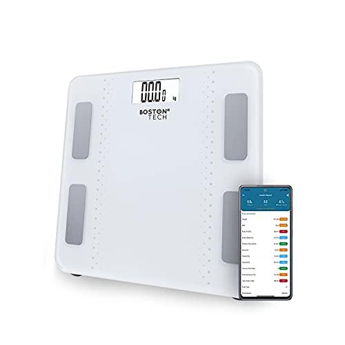 Báscula de Baño Digital Inteligente Alta precisión, Diagnóstico Peso Corporal Masa Muscular y Ose, Grasa Corporal y Agua corporal, metabolismo y BMP Max.180kg para Andriod y iOS Blanca Modelo