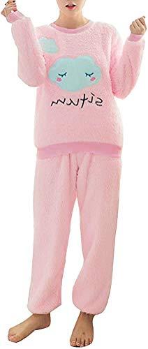 ORANDESIGNE Herbst Winter Pyjamas Damen Mädchen Zweiteiler Ensembles de Pyjama Warm...
