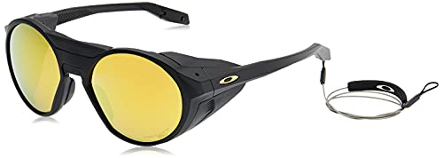 Oakley Men's OO9440 Clifden Round Sunglasses, Matte Black/Prizm 24K Polarized, 54 mm