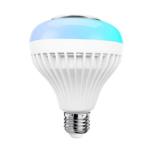 Fenteer Altavoz Bluetooth de luz LED Bombilla RGB E27 12W lámpara de reproducción de música RGB Cambio de Color para el Dormitorio, Armario, Armario, Pasillo, APPRGB Blanco Remoto