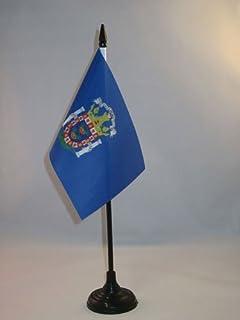 Melilla Tafelvlag 15x10 cm - Autonome stad Melilla - Spanje Bureauvlag 15 x 10 cm - Zwart plastic stokje en voetje - AZ FLAG