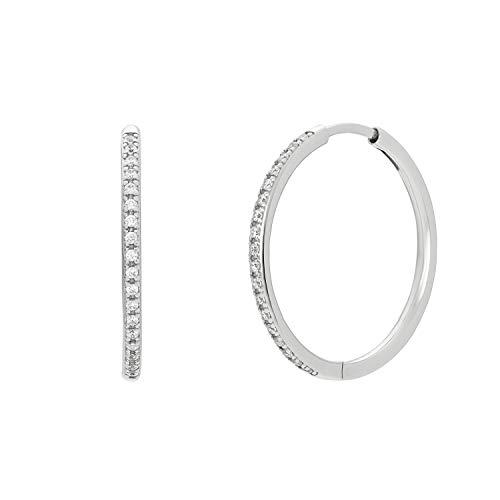 NOELANI Pendientes de aro para mujer, plata 925 con circonitas, tamaño mediano, 24 mm