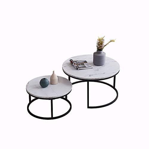 Round Nesting Coffee Tables Set of 2, Wooden Desktop with Marble Texture End Tables for Living Room, Modern Side Coffee Table with Solid Metal Frame for Small Space