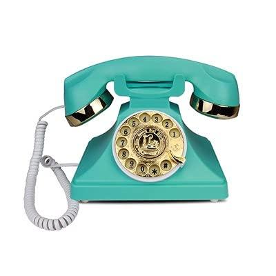 ELKeyko Teléfono Antiguo Negro con Cable Teléfonos caseros Retro Moda Antigua Teléfono de teléfono Fijo Teléfono Vintage para la decoración de la Oficina en casa (Color : Blue)
