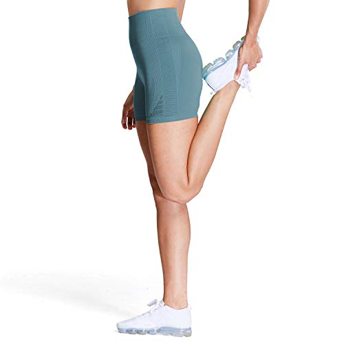Aoxjox Women's High Waisted Workout Yoga Gym Energy Seamless Shorts (Stormy Turquoise, Small)