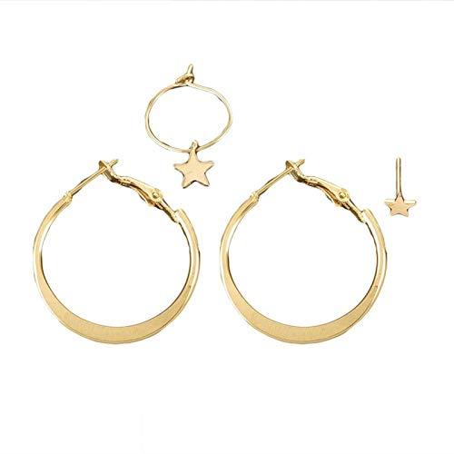 Ruby569y Pendientes colgantes para mujeres y niñas, 4 unidades/juego de aretes de estrella de cinco puntas para mujer, pendientes de aro de joyería regalo – dorado