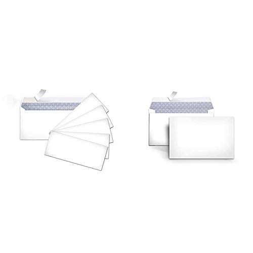 AmazonBasics #10 Security-Tinted Envelopes with Peel & Seal, White, 500-Pack - AMZP5 & #6 3/4 Security-Tinted Envelopes with Peel & Seal, 100-Pack, White - AMZA25