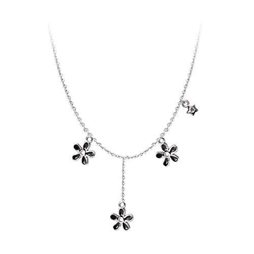 Collar de Cadena de clavícula con Borla de Margarita de Flor Negra con Esmalte de Gota de Plata de Ley 925 para Mujer, joyería de Fiesta, Regalos S-N656