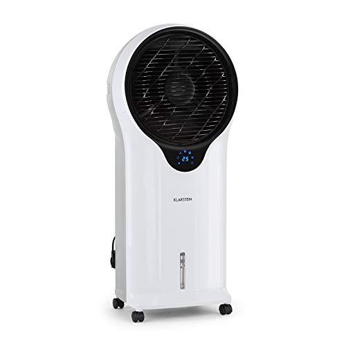 Klarstein Whirlwind - Enfriador portátil, Ventilador refrescante, 3-EN-1: enfría ventila humidifica, 110W, 5,5L, Oscilador, Movilidad 360º, Asas Laterales, 3 Niveles de Intensidad, Blanco