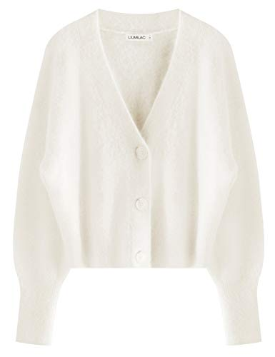 LIUMILAC Women Soft Cashmere Vneck Drop Shoulder Button Down Knitted Cardigan (LAA87-1(Creamy White), Large)