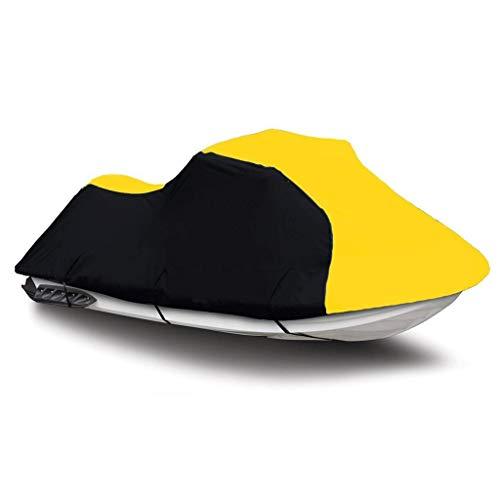Black/Yellow Super Heavy-Duty, 600 Denier Trailerable PWC Jet Ski Cover for Tiger Shark 640L / 770L 1998 1999 3 Seater 126'