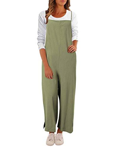 VONDA Mono de verano para mujer, estilo casual, de espagueti, pierna ancha, con babero, holgado.