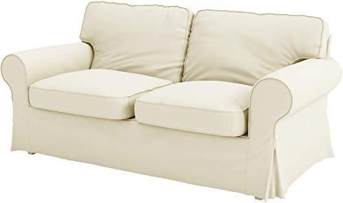 The Ektorp Two Seater Sofa Bed Cover Replacement is Custom Made for IKEA Ektorp 2 Seater Sleeper Only, A Quality Sofa Slipcover Replacement (Beige Cotton)