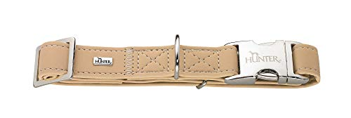 HUNTER SOFTIE ALU-STRONG Hundehalsung, Hundehalsband, Kunstleder, Aluminium Klickverschluss, L, beige