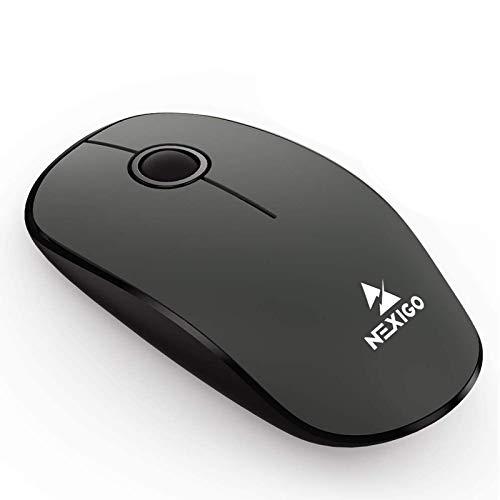 NexiGo Wireless Mouse with Built-in USB Nano Receiver, Ergonomic Design 2.4G Slim Computer Mouse Precisely 1600 DPI Portable Mice for Windows, OS System, Mac, PC, Laptop, Computer (Grey and Black)