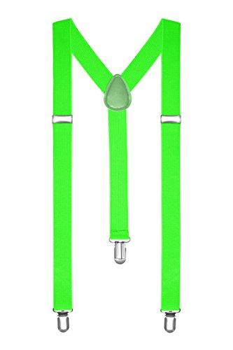 Autiga Hosenträger Herren Damen Hosen Träger Y Form Style Clips Schmal Neon Bunt Farbig, Neongrün, unisize