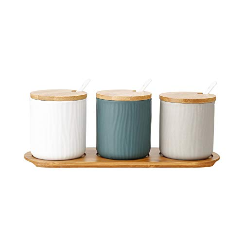 Mydur Tricolored vertical striped sugar container Also used for salt box The best choice for salt/coffee/spice/sugar dispenser
