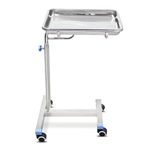weiwei Serving Trolley Mobile Instrument Tray Stand Adjustable Stainless Steel Medical Tray for Hospital Laboratory Tattoo Spa Salon Equipment