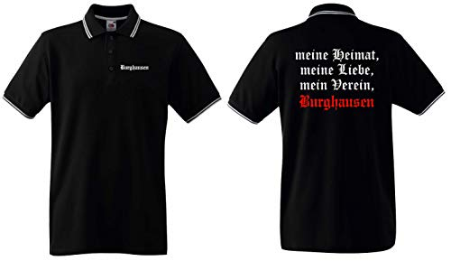 World of Shirt Herren Polo-Retro Shirt Burghausen Meine Heimat Mein Verein