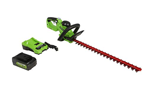 "Greenworks 24V 22"" (Laser Cut) Hedge Trimmer, 4Ah USB Battery and Charger Included HT24B414"