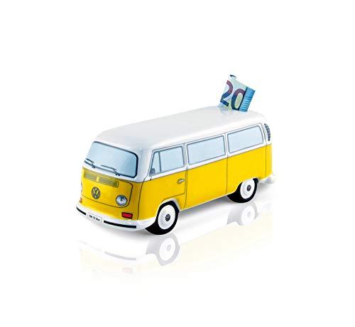 Brisa VW Collection - Volkswagen Furgoneta Hippie Bus T2 Van Hucha Vintage de Cerámica en Caja de Regalo, Caja de Dinero Reutilizable, Alcancía como Souvenir (Escala 1:22/Naranja/Blanco)