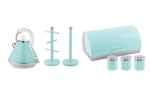 Geschenkset bestehend aus: Wasserkocher, Brotkasten, 3 Dosen und Becherbaum und Küchenrollenhalter in Hellblau, Pink oder Mintgrün 28 x 23 x 22.8 cm mintgrün