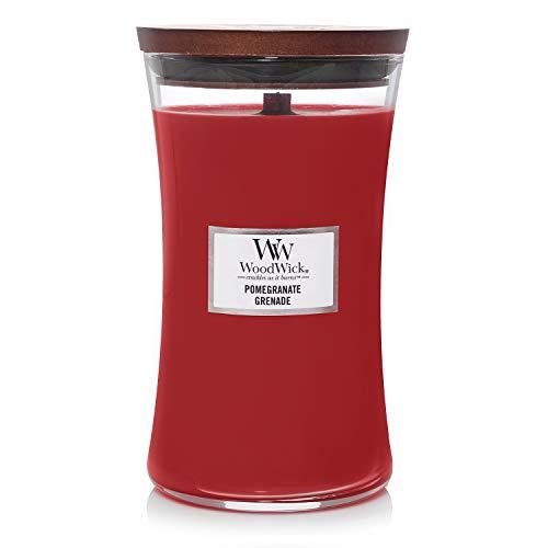 Woodwick Hourglass Candela Profumata Grande con Stoppino Scoppiettante, Fino A 130 Ore, paraffina, Rosso (Melograno)