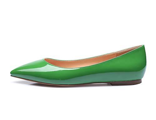 CASTAMERE Damen Low Heels Freizeit Ballerinas Spitzen Niedrig Flache Schuhe Grün Lackleder Schuhe EU 39