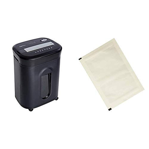 Amazon Basics - Trituradora de corte cruzado para tarjetas de crédito, CD y papel, para 15 hojas + Hojas para lubricar y afilar trituradoras - Pack de 12