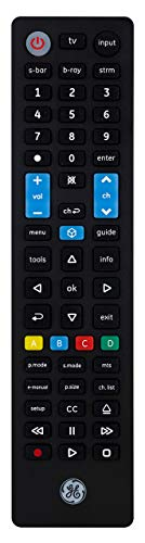 Samsung Replacement Remote by GE, Universal Remote Control Compatible for Roku, Apple TV, Smart TV, Soundbar, Streaming Player, Blu Ray, DVD, DVR, 4 Device, Black, 44235