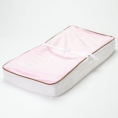 Bacati - Velor Pink/White/Chocolate Plush Changing Pad Cover