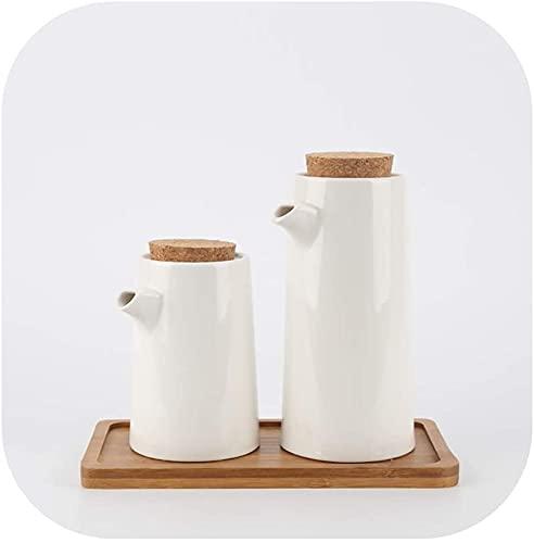El aceite puede olivar o vinagre anti-fuga, Botella de dispensador de aceite de oliva blanco para cocinar de cocina, cerámica Salsa de soja vinagre Condimento con tapa de corcho Fugas de fugas Verific