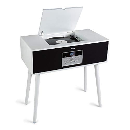 auna Julie ANN - Tocadiscos, Equipo estéreo, 3 velocidades: 33, 45 y 78 RPM, Reproductor de CD, Radio Dab+/FM, Conexión Bluetooth, Grabación por USB, 2 Altavoces, Pantalla LCD, Blanco