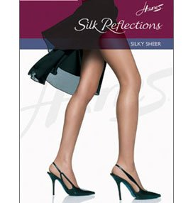 Hanes Women's Non Control Top Sandalfoot Silk Reflections Panty Hose, Jet, A/B