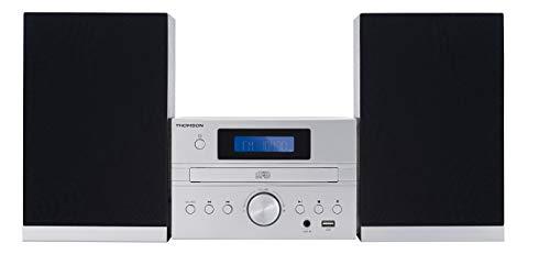 Thomson MIC122DABBT Sistema de Audio para el hogar - Microcadena (Microcadena de música para Uso doméstico, Plata, Monótono, 1 Cubierta(s), 50 W, Dab+,FM)