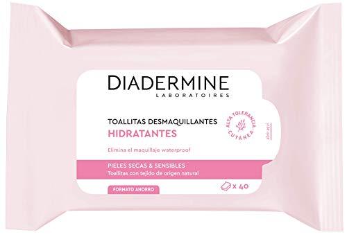 Diadermine - Toallitas Desmaquillantes Hidratantes, 25 uds, para pieles secas y sensibles, eliminan el maquillaje eficazmente e hidratan la piel